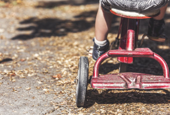Little Boy Pedaling Red Tricycle free stock photo